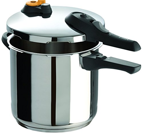 T-fal P25144 Stainless Steel Dishwasher Safe PTFE PFOA and Cadmium Free 10 / 15-PSI Pressure Cooker Cookware, 8.5-Quart, Silver - 7114000516 from T-fal