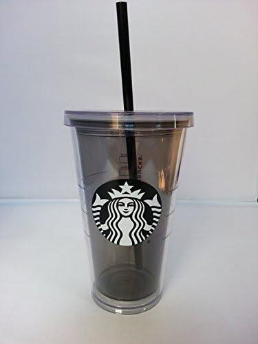 Starbucks - Vaso para bebidas frías con tapa y pajita, 473 ml de plástico gris tintado