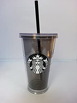 70b12939abf Starbucks Cold Cup Tumbler To Go 16 fl oz with Lid and Straw, Black Mermaid  Logo, Tinted Clear Grey Plastic