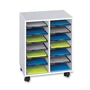 Safco 5392GR Go Cart 14-Compartment Organizer Cart, Gray