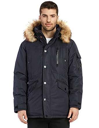 Noize Jacob Men's Winter Jacket, Mid Length Parka, Faux