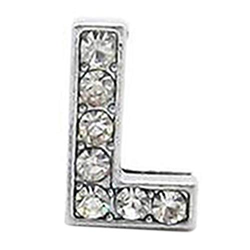 Rhinestone Letters Band - Set of 12 Silver Rhinestone 8mm Slide Letter for Jewelry/Crafting/Making Charm Bracelets/Necklaces/Wristbands/DIY Jewelry (E) (L)