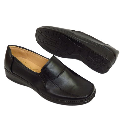 Ladies Smart Work Comfort-able Slip-On Loafer Womens Shoes A11 Black tUs6wVUX