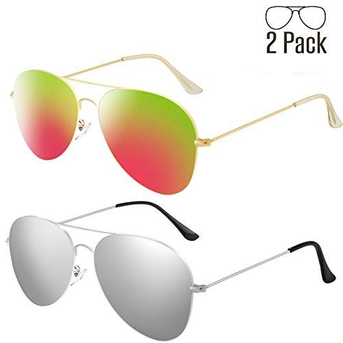 Livhò G 2 Pack of Sunglasses for Men Women Aviator Polarized Metal Mirror UV 400 Lens Protection (Silver+Bobbl - Protection 400 Uv
