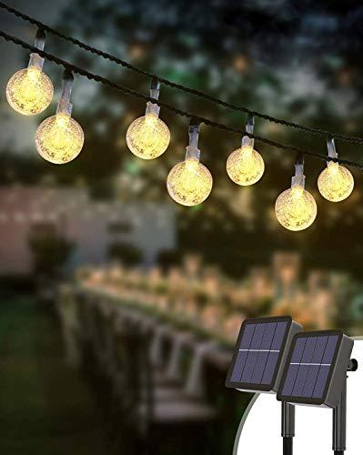 Guirnaldas Luces Exterior Solar [2 Pack], Kolpop Total de 60 LED Cadena de Bola Cristal Luz, Guirnalda Solar LED Bola de…