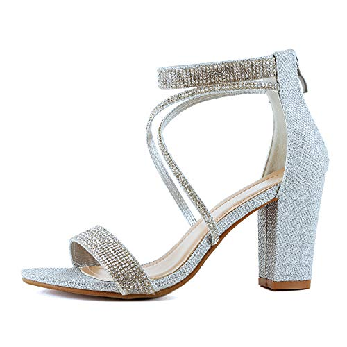 (Womens Comfortable Strappy Chunky Block Ankle Strap Open Toe Heeled Sandals (6.5 M US, Silverv2 Glitter))