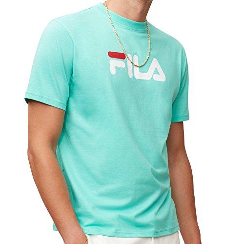 Fila Men's Printed T-Shirt, White, Chinese Red, L
