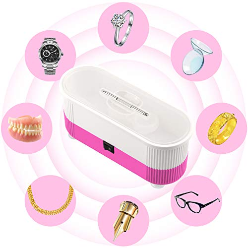 Ultrasonic Cleaner, Myriann Mini Cleaning Machine 300ml Tank for Jewelry Eyeglass Watches Business Commercial Home Use (Pink) by MYRIANN