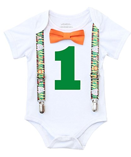Noah's Boytique Baby Boys First Birthday Jungle Safari Theme Party Outfit 18-24 M Zebra