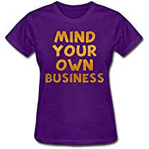 ZWEN Women's Mind Your Own Business Loose Casual Top T-Shirt