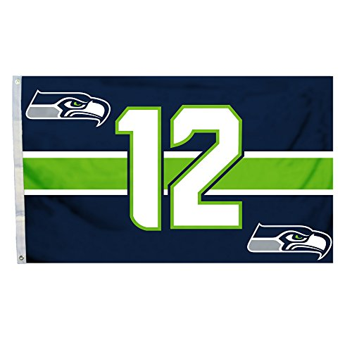 NFL Seattle Seahawks Flag with Grommets, 3' X 5', Blue/Green ()