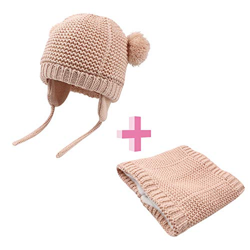 BAVST Baby Girls Boys Winter Hat Scarf Set Pompom Warm Knit Beanie and Neck Warmer with Fleece Lining 2pcs for 0-2 Years (Pink 2, S(0-4M))