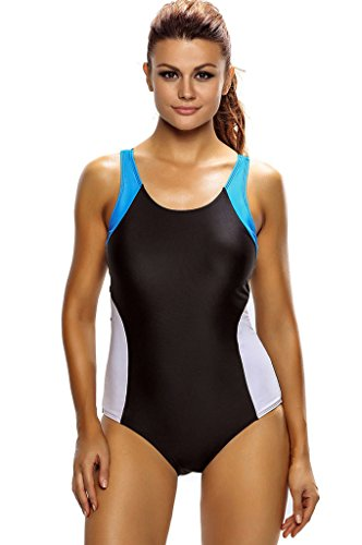 Fortuning's JDS Sexy Sporty Scoop-neck Racerback One Piece Swimsuit