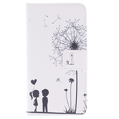 S6 Case,Galaxy S6 Case, IVY Dandelion Graphics - Cute Fashion Magnetic Snap Wallet Card Flip Synthetic Leather TPU With Stand Cover Case For Samsung Galaxy S6