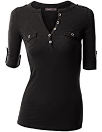 Rolled Up Sleeve Deep V-Neck Henley T-Shirt Top for Women with Plus Size