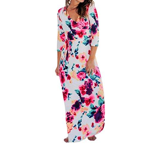 DongDong Women Holiday Floral Print Three Quart Sleeve Maxi Dress Boho V Neck Party Belt (Camoflauge Belt)