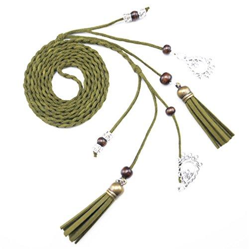 170Cm Vintage Braided Rope Waist Belts NEW Designer Harness For Female Leather Green 170cm