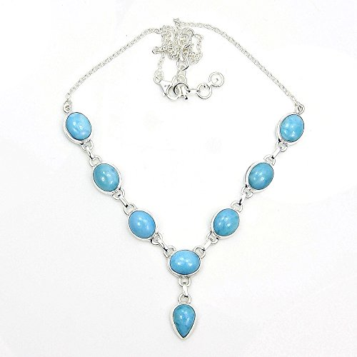 Sterling Silver Genuine Dominican Larimar Y-Necklace