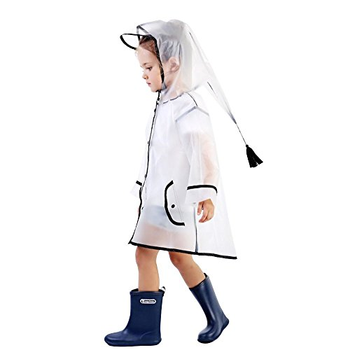 (Doubmall Transparent Raincoat for Kids Hooded Rain Jacket Age 1-8 Child's Lightweight Outdoor Rain Wear Slicker with Tassel for Boys for Girls …)