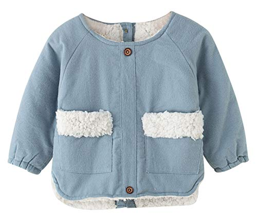 Toddler Baby Girls Boys Outerwear Warm Thicken Cotton Velvet Coat Long Sleeved Clothing Tops for Age 12-18 Months Blue S