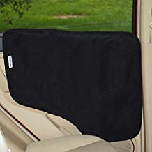 NAC&ZAC Waterproof Pet Car Door Cover - Black, Two Options To Install-Insert The Tabs Or Stick The Velcros. Fit All Vehicles.