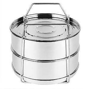 Instant Pot Steamer Insert Pans - STACKABLE 2-Tier - BEST Bundle - Fits 6 & 8 Quart Instapot Pressure Cooker - 100% Stainless Steel - BONUS Accessories - Vegetable Peeler + eBook - With Lid & Holder