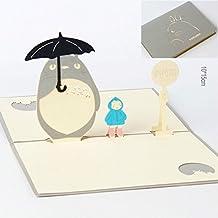 BonusLife 3D Cards Pop Up Greeting Cards Birthday Gift Card Totoro