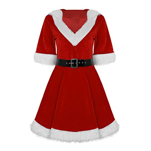 Alvivi Women Girls Mrs. Claus Santa Suit Sweetie Christmas Fancy Dress Cosplay Costume with Belt Red Medium
