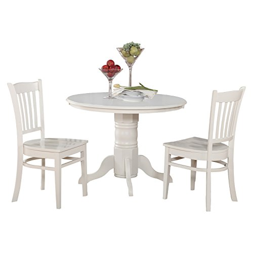 SHGR3-WHI-W 3 PC Kitchen nook Dining set-Round Table and 2 dinette Chairs
