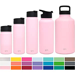 Simple Modern 22oz Summit Water Bottle + Extra Lid - Vacuum Insulated Stainless Steel Wide Mouth Hydro Travel Mug - Powder Coated Double-Walled Flask - Blush Red