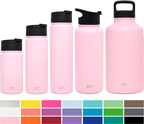 Simple Modern 32oz Summit Water Bottle + Extra Lid - Vacuum Insulated Stainless Steel Wide Mouth Hydro Travel Mug - Powder Coated Double-Walled Flask - Blush Red