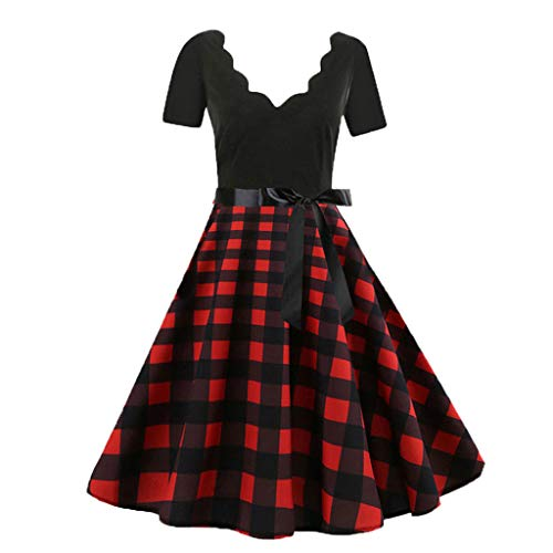 - Mlide Vintage Print Flare Dress,Sleeveless&Short Sleeve,Women Bow Belt Party Evening Dress,Plaid&flowersΜsic score(Red(Plaid Short Sleeve),XXX-Large)
