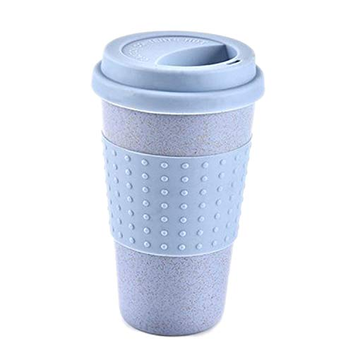 Coffee Bond Saucer (Reusable Water Cup Cola Coffee Cups Wheat Straw Bottle Multi Functional With Lid Coffee Mug Travel Mug,Blue)