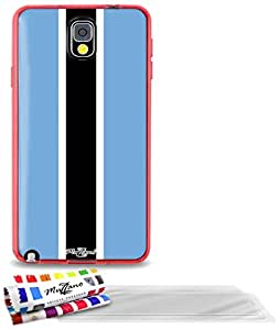"""Carcasa Flexible Ultra-Slim SAMSUNG GALAXY NOTE 3 de exclusivo motivo [Botswana Bandera] [Roja] de MUZZANO  + 3 Pelliculas de Pantalla """"UltraClear"""" + ESTILETE y PAÑO MUZZANO REGALADOS - La Protección Antigolpes ULTIMA, ELEGANTE Y DURADERA para su SAMSUNG GALAXY NOTE 3"""