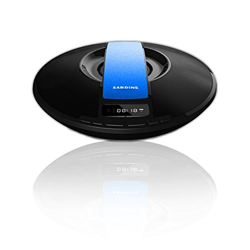 SARDiNE Wireless Portable Bluetooth Outdoor Speaker with FM Radio, LED Display, HIFI Subwoofer Wireless Microphone ,Alarm Clock, Support TF card UFO Style,Speaker with Enhanced Bass(Blue) by SARDINE