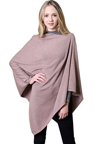 100% Organic Cotton 5-Way Knit Poncho Wrap. Soft Warm All Season Eco-friendly (Whisper Earthy Blush)