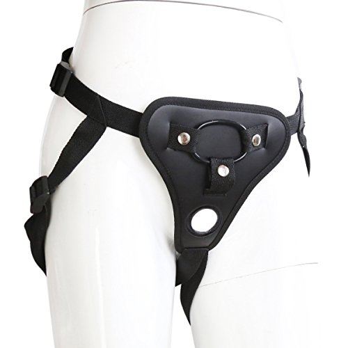 Unisex Soft Leather Pants with Adjustable Belt & 3 Size O-Rings for Couples Black