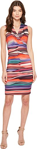 Nicole Miller Women's abalone Stripe Dakota V-Neck Dress Multi Small