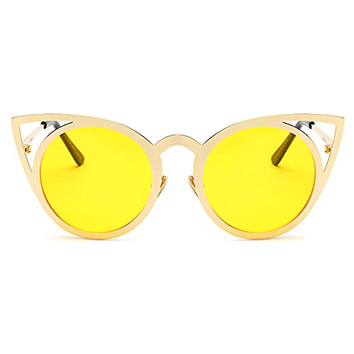 Metal Color Shades Mirror Sunglasses Vintage Cat MEIHAOWEI Frames 11 Eye Femme XHTqwFO