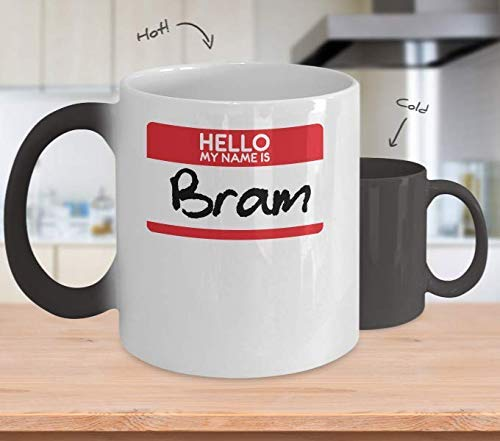 My Name Is Bram Stoker Color Changing Mug Gift Simple Vampire Halloween Costume Idea Awesome Coffee Mug with Sayings Funny Mug Tea Cocoa Coffee Cup 11OZ ()