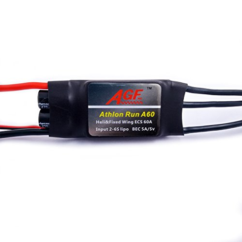 AGFrc ESC 60A Brushless Motor Electric Speed Controller for Helicopter and Fixed Wing Plane 2-6s with 5V/5A BEC 80A Peak Current