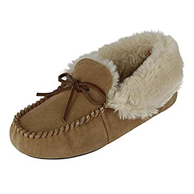 Dearfoams Women's Genuine Suede Foldover Bootie Slipper with Tie, 10, Desert