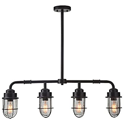 "Stone & Beam Jordan Industrial Farmhouse Ceiling 4-Pendant Cage Fixture With 4 Light Bulbs - 4.8 x 32 Inches, 17.5 - 46 Inch Cord, Black - Industrial combines with elements of vintage farmhouse style in this eye-catching pendant chandelier. Four subtle matte black metal cages surround classically shaped glass shades, allowing this piece to blend with a variety of styles. 32"" Wide. Included rods allow height to be adjusted from 17.5"" to 46"". Metal base and cages around glass shades - kitchen-dining-room-decor, kitchen-dining-room, chandeliers-lighting - 41vRnQ25mqL. SS400  -"