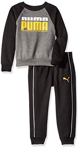 - PUMA Little Boys' Pullover Fleece Set, Black, 7