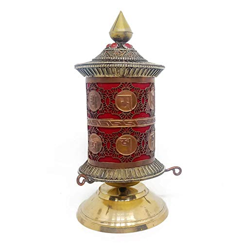 Tibetan Prayer Wheel - Handmade Tibetan Buddhist Red Copper Brass Table Top Prayer Wheel - Tibetan Om Mani Padme Hum Mantra - Premium Spiritual/Relaxation/Meditation/Yoga Accessories Gift Set - Home & Zen Decor
