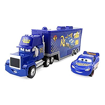 Pixar Cars Lightning McQueen The King Chick Hicks Jackson Storm Mack Trucks Hauler & Racer Metal 1:55 Loose Boy Toy Cars (Cars 3 Fabulous McQueen+Mack): Toys & Games
