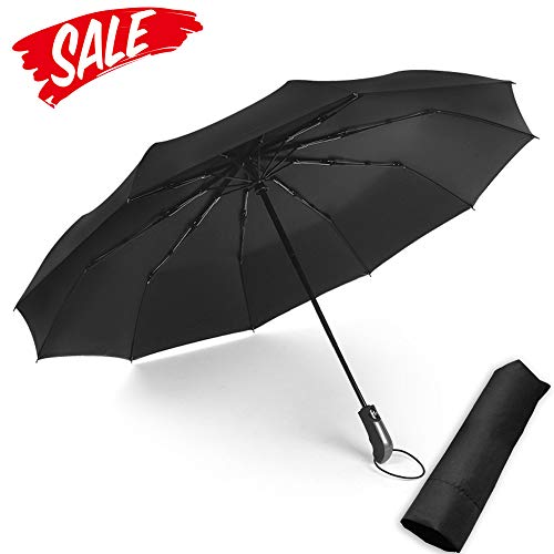 FANTAI Anti UV Sun Umbrella, Black Glue Coating Compact Travel Folding Umbrella Windproof UV Protection Auto Open Close Umbrella with 10 Ribs Comfort Handle for Women Men (Black) ()