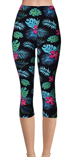 - VIV Collection Regular Size Printed Brushed Buttery Soft Capris (Tropical Floral)