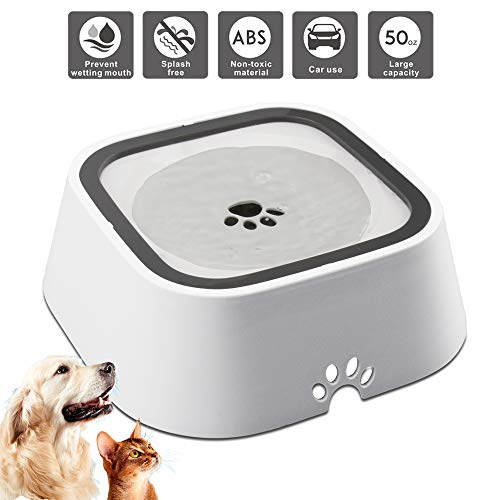 Dog Water Bowl, VLEPT Splash-Free Cat Water Fountain, 1.5 L Antibacterial Pet Water Dispenser, Vehicle Carried Water Bowl for Dogs/Cats/Pets
