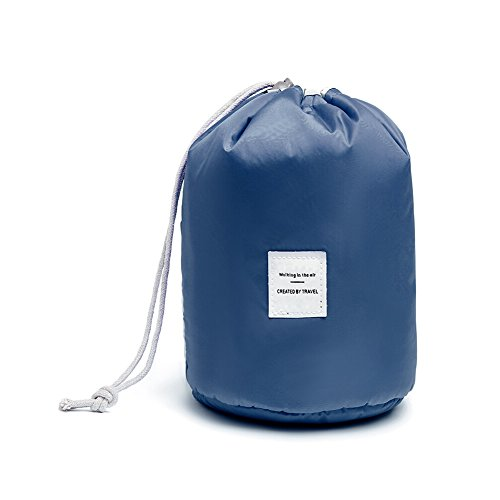 Huluwa Toiletry Bag, Multifunctional Bucket Cosmetic Bag, Waterproof Travel Makeup Pouch, Large Capacity Toiletry Organizer Storage Drawstring Bag, Dark Blue